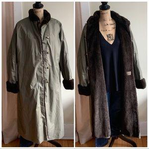 Jolipel khaki green fur lined coat size 42